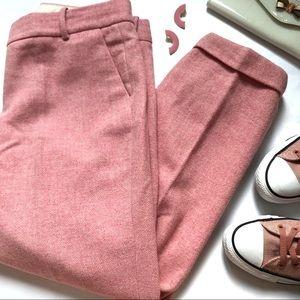 J. Crew Herringbone Cafe Capri Pink Cropped Wool